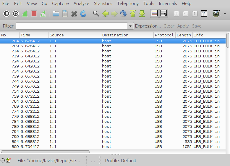 Wireshark usb packets